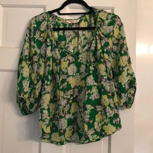 Rebecca Taylor Green and Yellow Floral Blouse